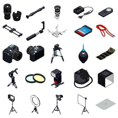 Photographer equipment icons set. Simple set of photographer equipment vector icons for web design on white background