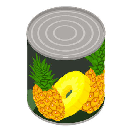 Pineapple tin can icon. Isometric of pineapple tin can vector icon for web design isolated on white background