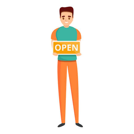 Open shop assistant icon. Cartoon of open shop assistant vector icon for web design isolated on white background