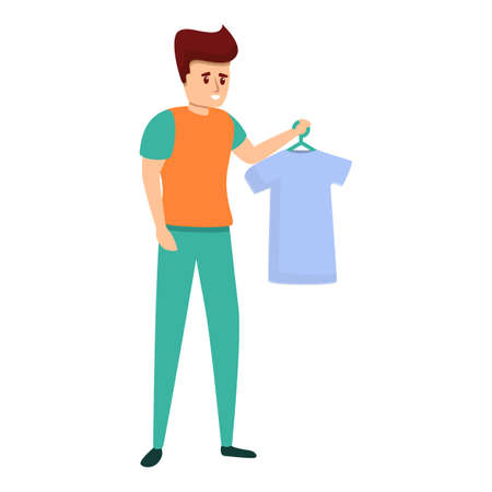 Shop assistant give tshirt icon. Cartoon of shop assistant give tshirt vector icon for web design isolated on white background Vettoriali
