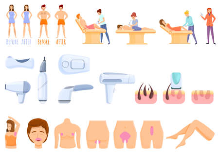 Laser hair removal icons set. Cartoon set of laser hair removal icons for web design Vettoriali