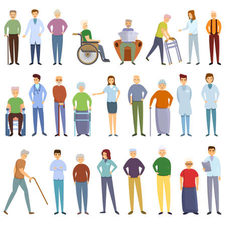 Nursing home icons set. Cartoon set of nursing home vector icons for web design Stock Illustratie