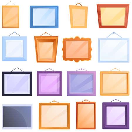 Photo Frame icons set. Cartoon set of photo frame icons for web design Stock Illustratie