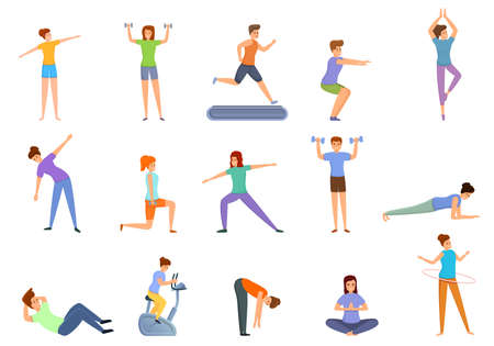 Home training icons set. Cartoon set of home training icons for web design