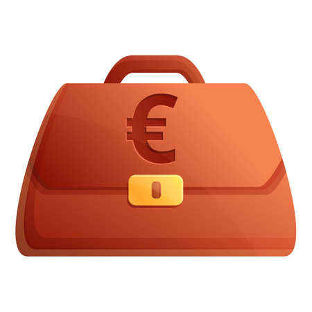 Euro credit bag icon. Cartoon of euro credit bag vector icon for web design isolated on white background Çizim