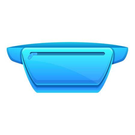 Blue waist bag icon. Cartoon of blue waist bag vector icon for web design isolated on white background