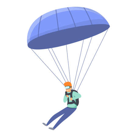 Fall parachuting icon. Cartoon of fall parachuting vector icon for web design isolated on white background