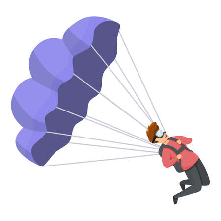 Young parachuter icon. Cartoon of young parachuter vector icon for web design isolated on white background