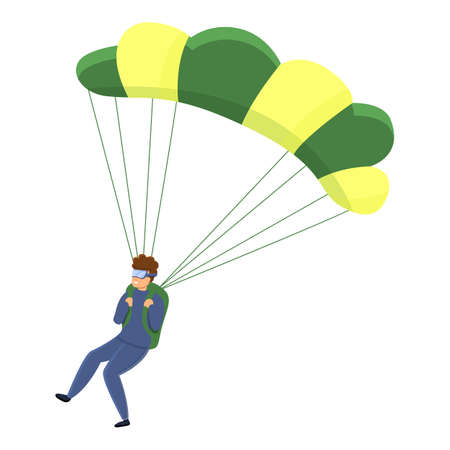 Danger parachuting icon. Cartoon of danger parachuting vector icon for web design isolated on white background