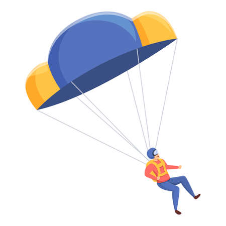 Extreme parachuter icon. Cartoon of extreme parachuter vector icon for web design isolated on white background