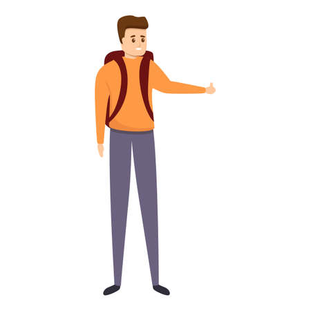 Hiker hitchhiking icon. Cartoon of hiker hitchhiking vector icon for web design isolated on white background  イラスト・ベクター素材