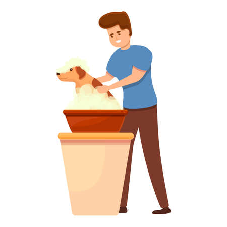 Groomer boy wash dog icon. Cartoon of groomer boy wash dog vector icon for web design isolated on white background