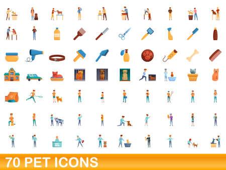70 pet icons set. Cartoon illustration of 70 pet icons vector set isolated on white background