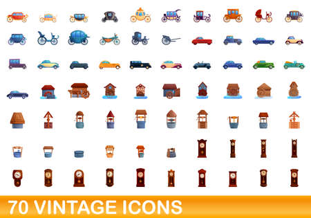 70 vintage icons set. Cartoon illustration of 70 vintage icons vector set isolated on white background 向量圖像