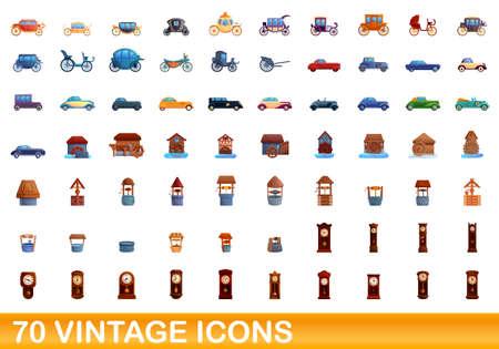70 vintage icons set. Cartoon illustration of 70 vintage icons vector set isolated on white background Illustration