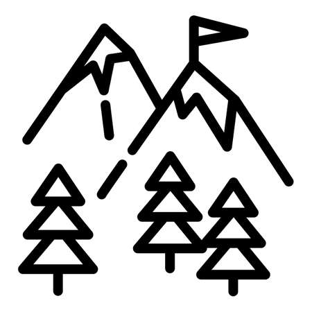 Ski mountains icon. Outline ski mountains vector icon for web design isolated on white background