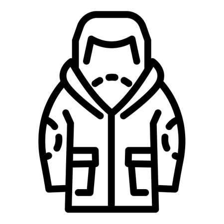 Ski jacket icon. Outline ski jacket vector icon for web design isolated on white background 矢量图像