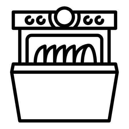 Home dishwasher icon. Outline home dishwasher vector icon for web design isolated on white background