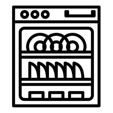 Modern dishwasher icon. Outline modern dishwasher vector icon for web design isolated on white background