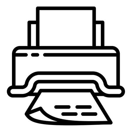 Paper document printer icon. Outline paper document printer vector icon for web design isolated on white background