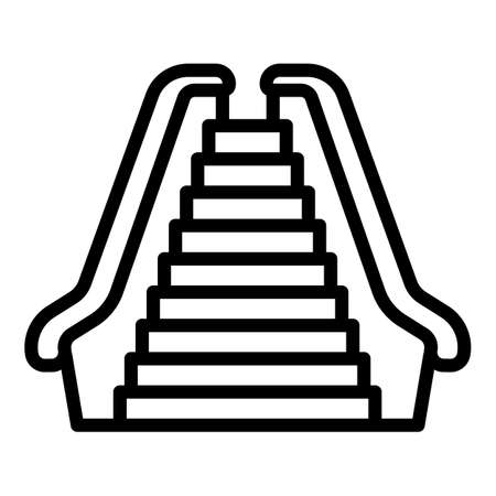 Front view escalator icon. Outline front view escalator vector icon for web design isolated on white background