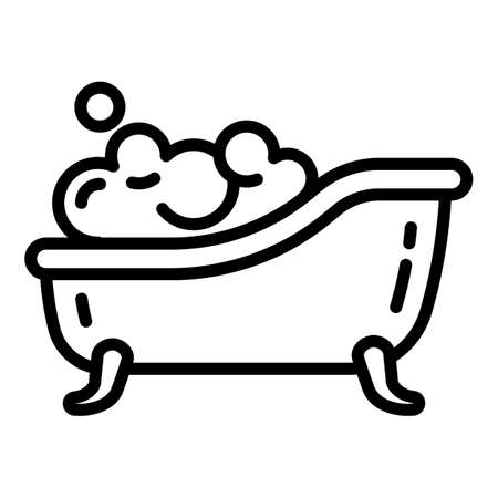 Soap foam bathtub icon. Outline soap foam bathtub vector icon for web design isolated on white background Vector Illustration