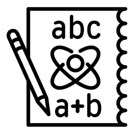 Physics formula icon. Outline physics formula vector icon for web design isolated on white background