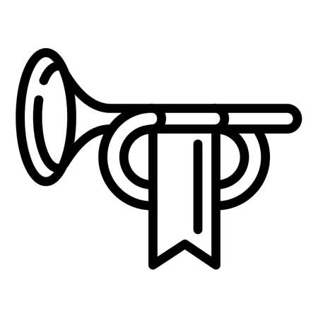 Royal trumpet icon. Outline royal trumpet vector icon for web design isolated on white background Illustration