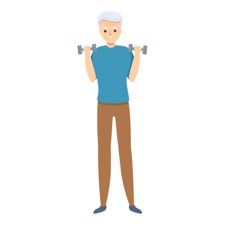 Senior man take small dumbbells icon. Cartoon of senior man take small dumbbells vector icon for web design isolated on white background Vettoriali