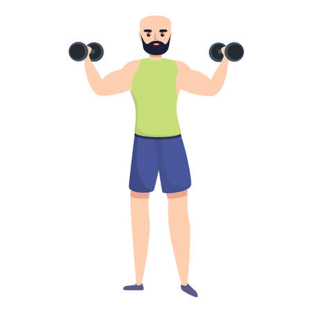 Sportsman training with dumbbells icon. Cartoon of sportsman training with dumbbells vector icon for web design isolated on white background