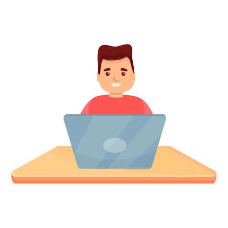 Boy scientific coding icon. Cartoon of boy scientific coding vector icon for web design isolated on white background
