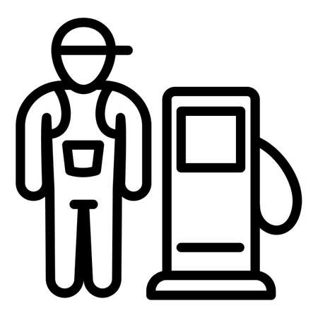 Fuel station worker icon. Outline fuel station worker vector icon for web design isolated on white background Illustration