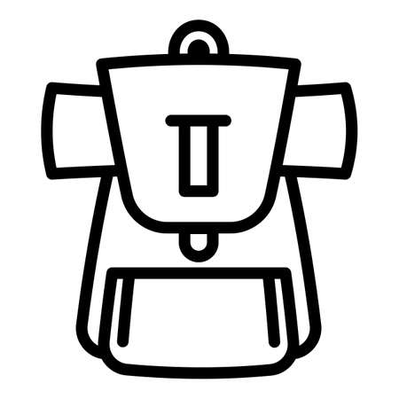 Tourist backpack icon. Outline tourist backpack vector icon for web design isolated on white background Stock Illustratie