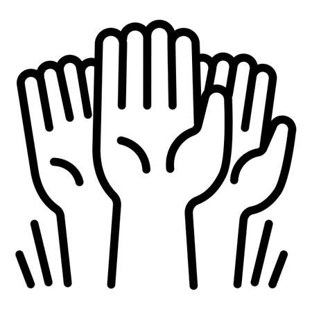 Cohesion hands up icon. Outline cohesion hands up vector icon for web design isolated on white background