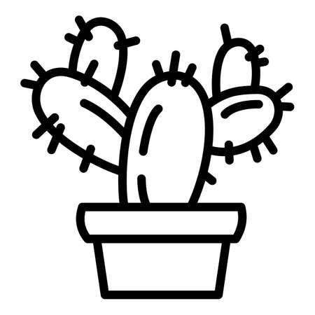 Cactus pot icon. Outline cactus pot vector icon for web design isolated on white background