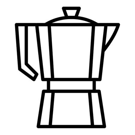Steel coffee pot icon. Outline steel coffee pot vector icon for web design isolated on white background