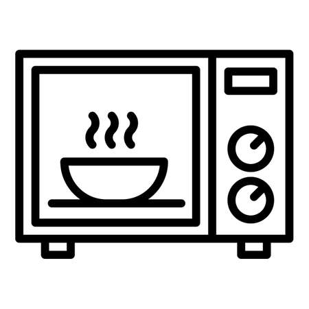 Bowl in microwave icon. Outline bowl in microwave vector icon for web design isolated on white background Ilustración de vector