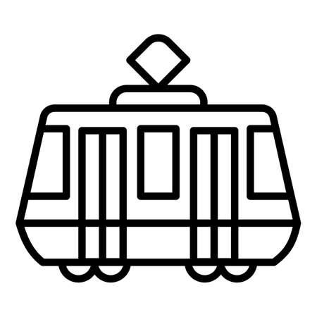 Tram car icon. Outline tram car vector icon for web design isolated on white background Vektorgrafik