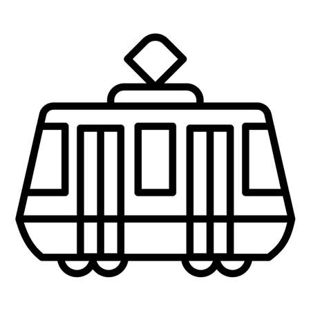 Tram car icon. Outline tram car vector icon for web design isolated on white background 矢量图像