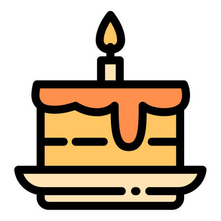 Homemade birthday cake icon. Outline homemade birthday cake vector icon for web design isolated on white background