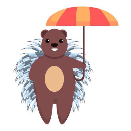 Porcupine with umbrella icon. Cartoon of porcupine with umbrella vector icon for web design isolated on white background Ilustrace