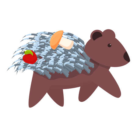 Porcupine with apple and mushroom icon. Cartoon of porcupine with apple and mushroom vector icon for web design isolated on white background