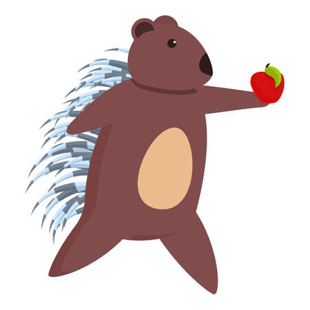 Porcupine take red apple icon. Cartoon of porcupine take red apple vector icon for web design isolated on white background Ilustrace