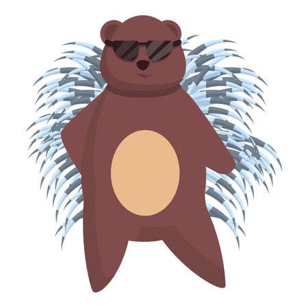 Porcupine with sunglasses icon. Cartoon of porcupine with sunglasses vector icon for web design isolated on white background Ilustrace