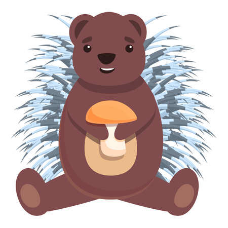 Porcupine with mushroom icon. Cartoon of porcupine with mushroom vector icon for web design isolated on white background