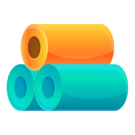Textile production fiber rolls icon. Cartoon of textile production fiber rolls vector icon for web design isolated on white background