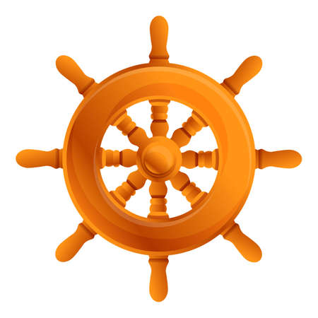 Ship wheel icon. Cartoon of ship wheel vector icon for web design isolated on white background