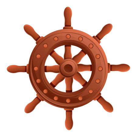 Adventure ship wheel icon. Cartoon of adventure ship wheel vector icon for web design isolated on white background