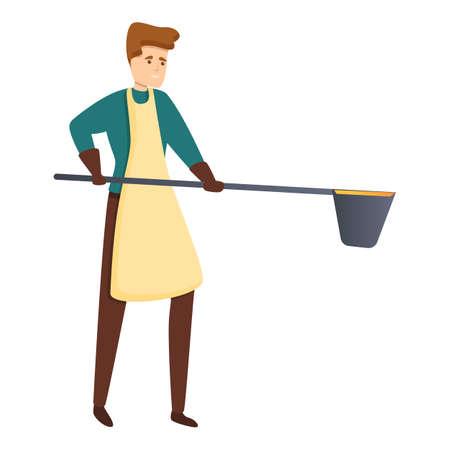 Blacksmith working icon. Cartoon of blacksmith working vector icon for web design isolated on white background