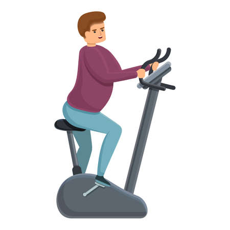 Fat man exercise bike icon. Cartoon of fat man exercise bike vector icon for web design isolated on white background